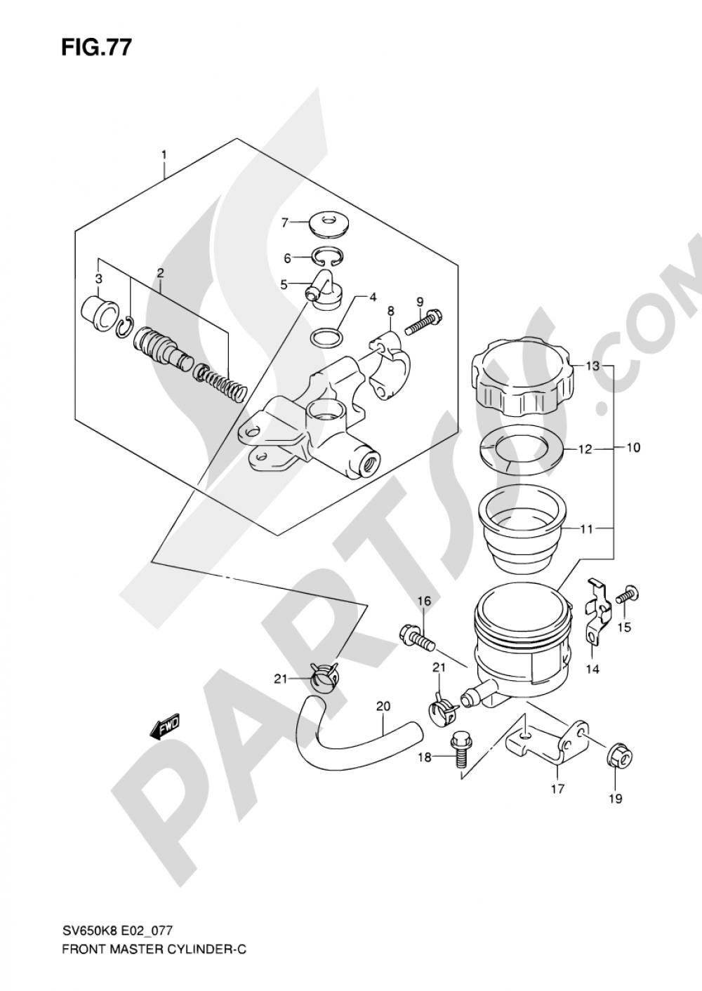 77 - FRONT MASTER CYLINDER (SV650SK8/SUK8/SK9/SUK9/SL0/SUL0) Suzuki SV650SA 2010
