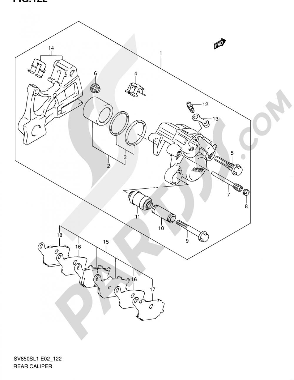 122 - REAR CALIPER (SV650SL1 E02) Suzuki SV650SA 2011