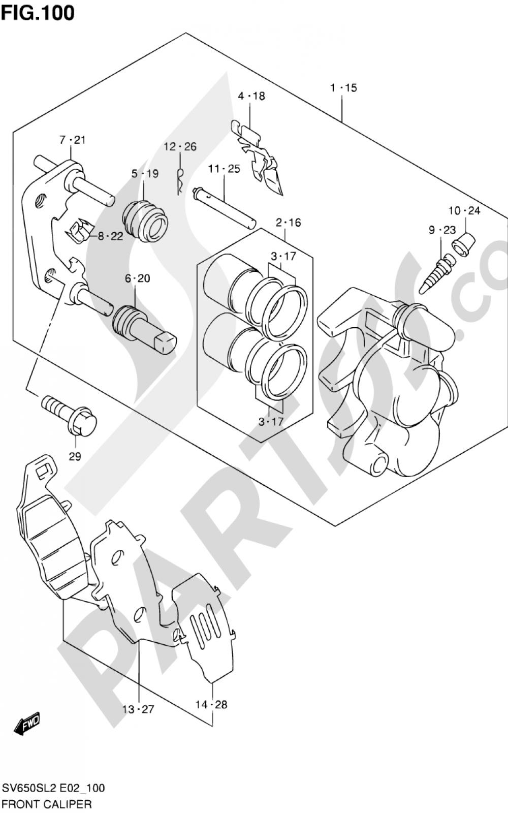 100 - FRONT CALIPER (SV650SUL2 E24) Suzuki SV650SA 2012