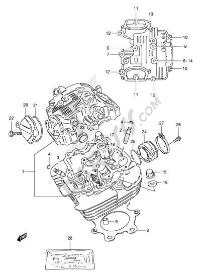 Suzuki TU250X 1996 1 - CYLINDER HEAD