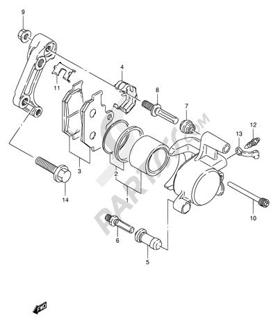 Suzuki TU250X 1999 44 - FRONT CALIPER (MODEL V/W/X)