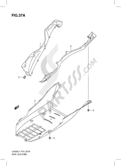 Suzuki BURGMAN UH200 2011 37A - SIDE LEG SHIELD (MODEL EXECUTIVE P19)