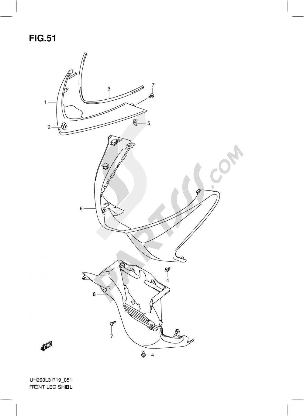 51 - FRONT LEG SHIELD (UH200ZL3 P19) Suzuki BURGMAN UH200 2013