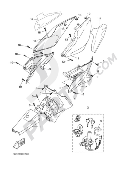Yamaha AEROX R 2006 SIDE FAIRING / COWLING