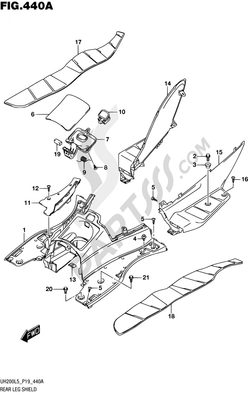 440A - REAR LEG SHIELD Suzuki BURGMAN UH200 2015