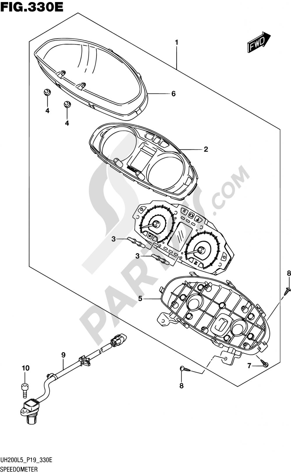 330E - SPEEDOMETER (UH200AL5 P04) Suzuki BURGMAN UH200A 2015