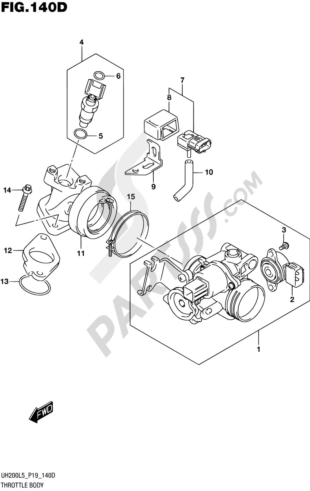 140D - THROTTLE BODY (UH200L5 P53) Suzuki BURGMAN UH200A 2015