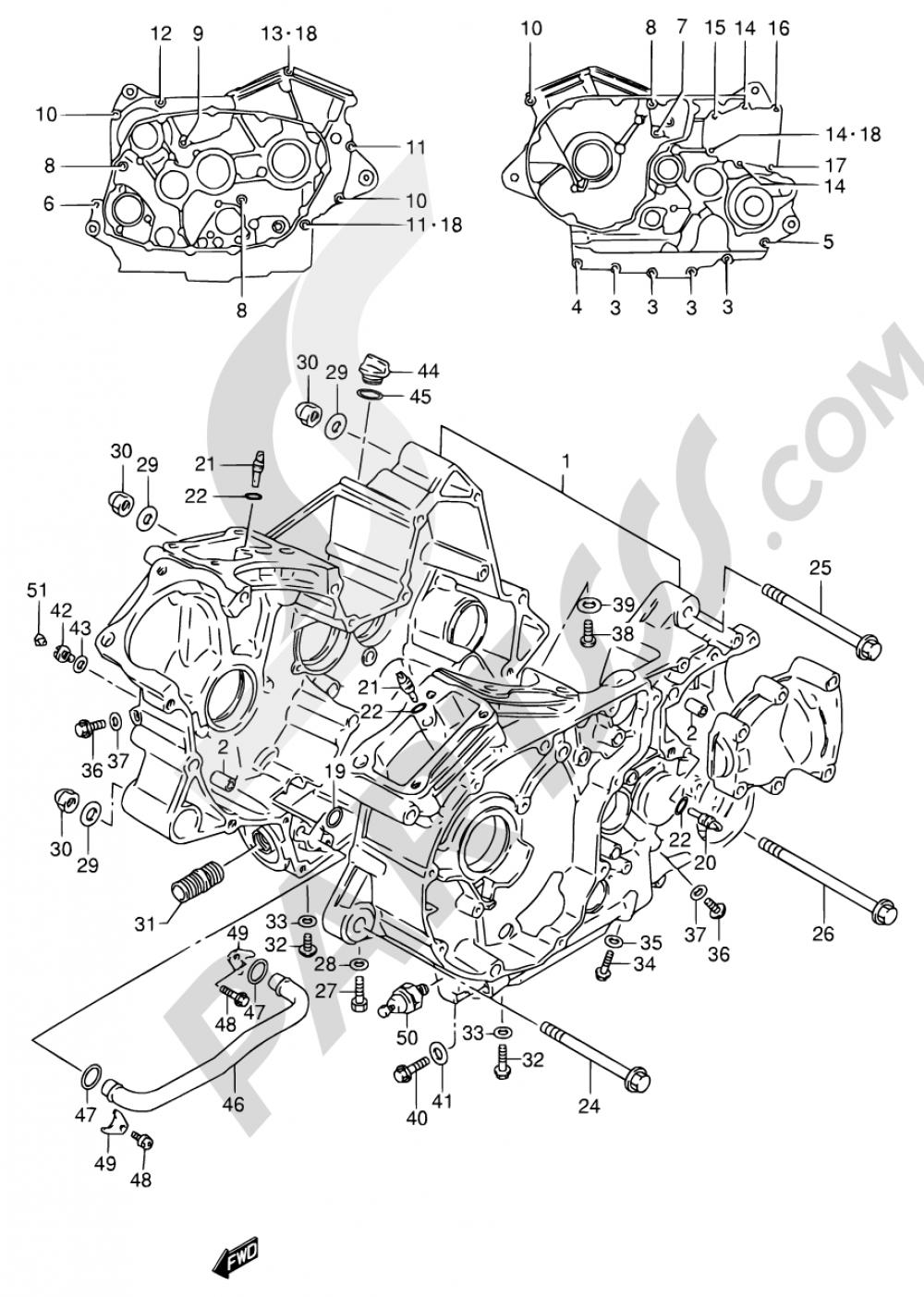 4 - CRANKCASE Suzuki VS600GL 1995