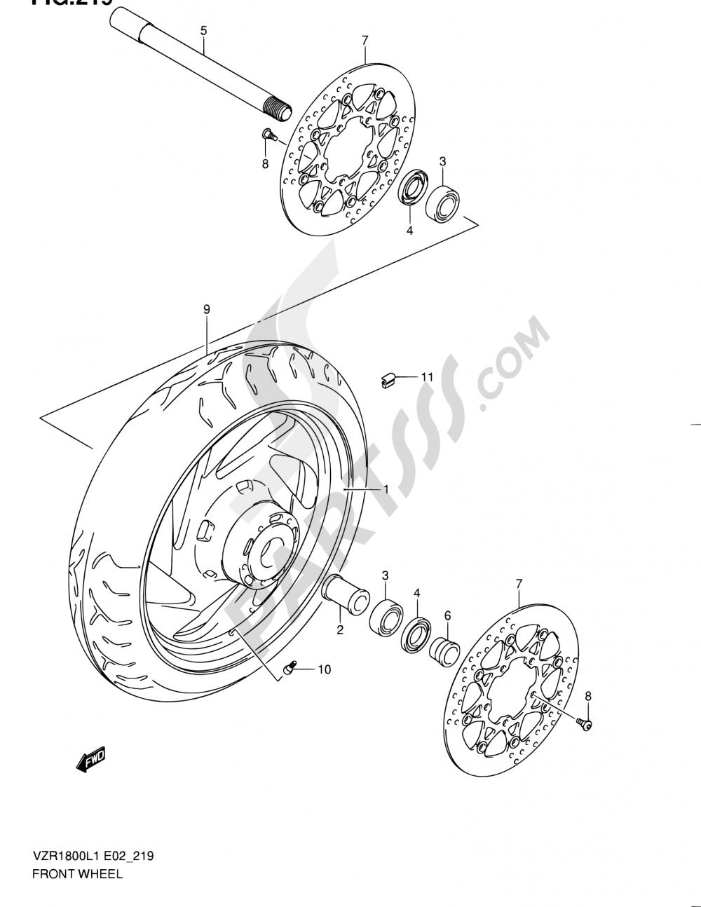 219 - FRONT WHEEL (VZR1800UFL1 E19) Suzuki VZR1800 2011
