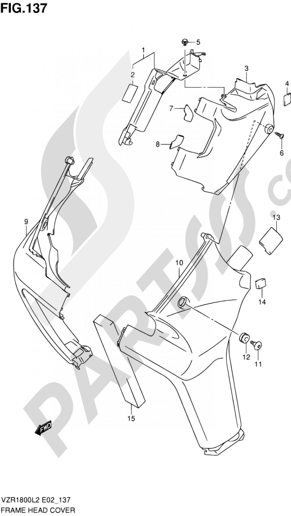137 - FRAME HEAD COVER (VZR1800L2 E19) Suzuki VZR1800 2012