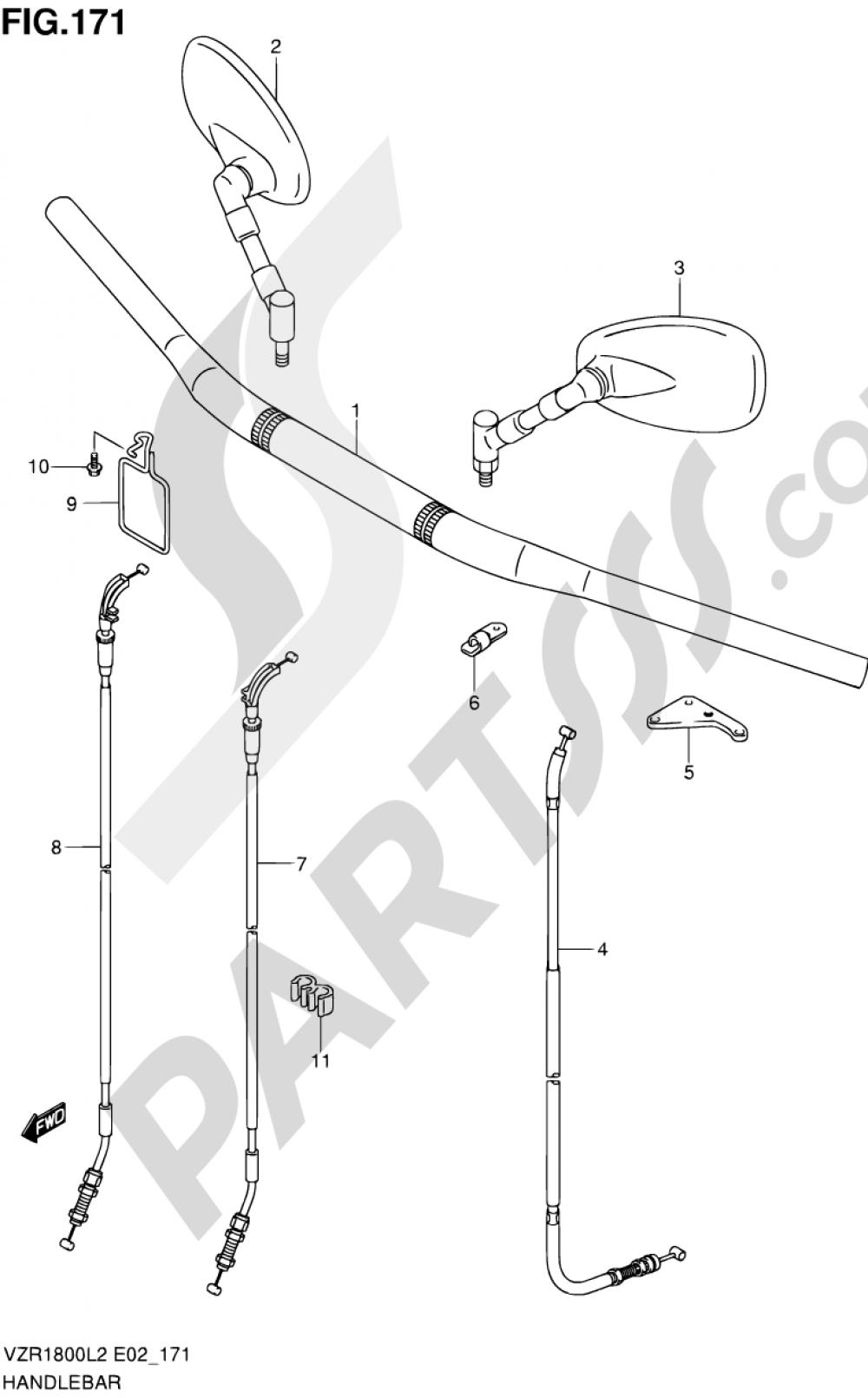 171 - HANDLEBAR (VZR1800UFL2 E19) Suzuki VZR1800 2012
