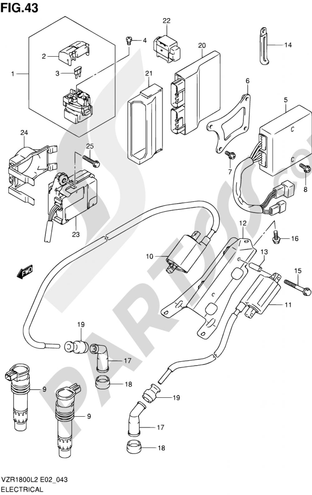 43 - ELECTRICAL (VZR1800UFL2 E19) Suzuki VZR1800 2012