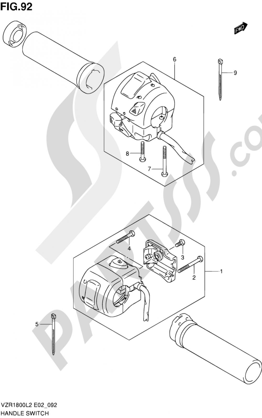 92 - HANDLE SWITCH (VZR1800L2 E24) Suzuki VZR1800 2012