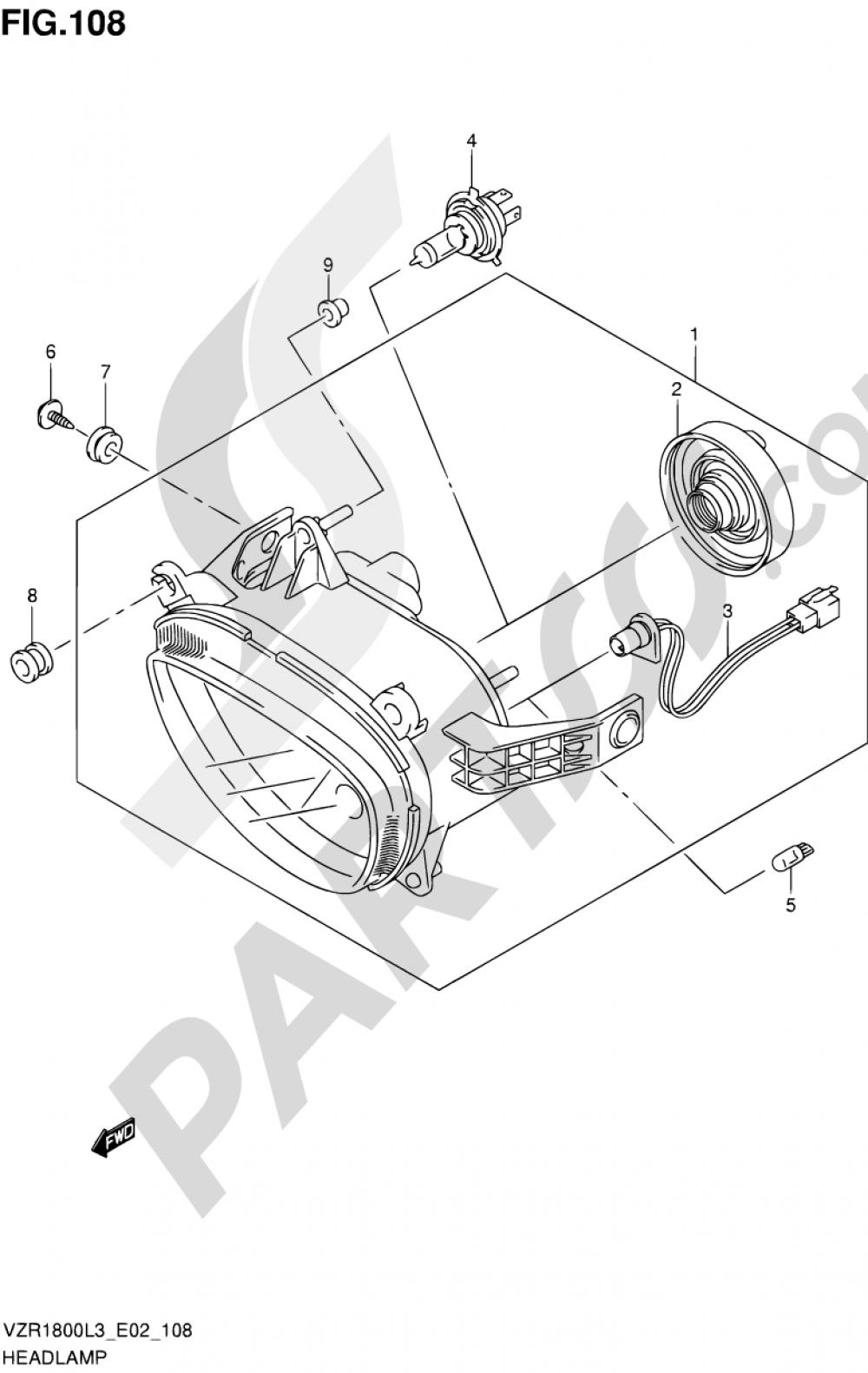 108 - HEADLAMP (VZR1800ZL3 E24) Suzuki VZR1800 2013