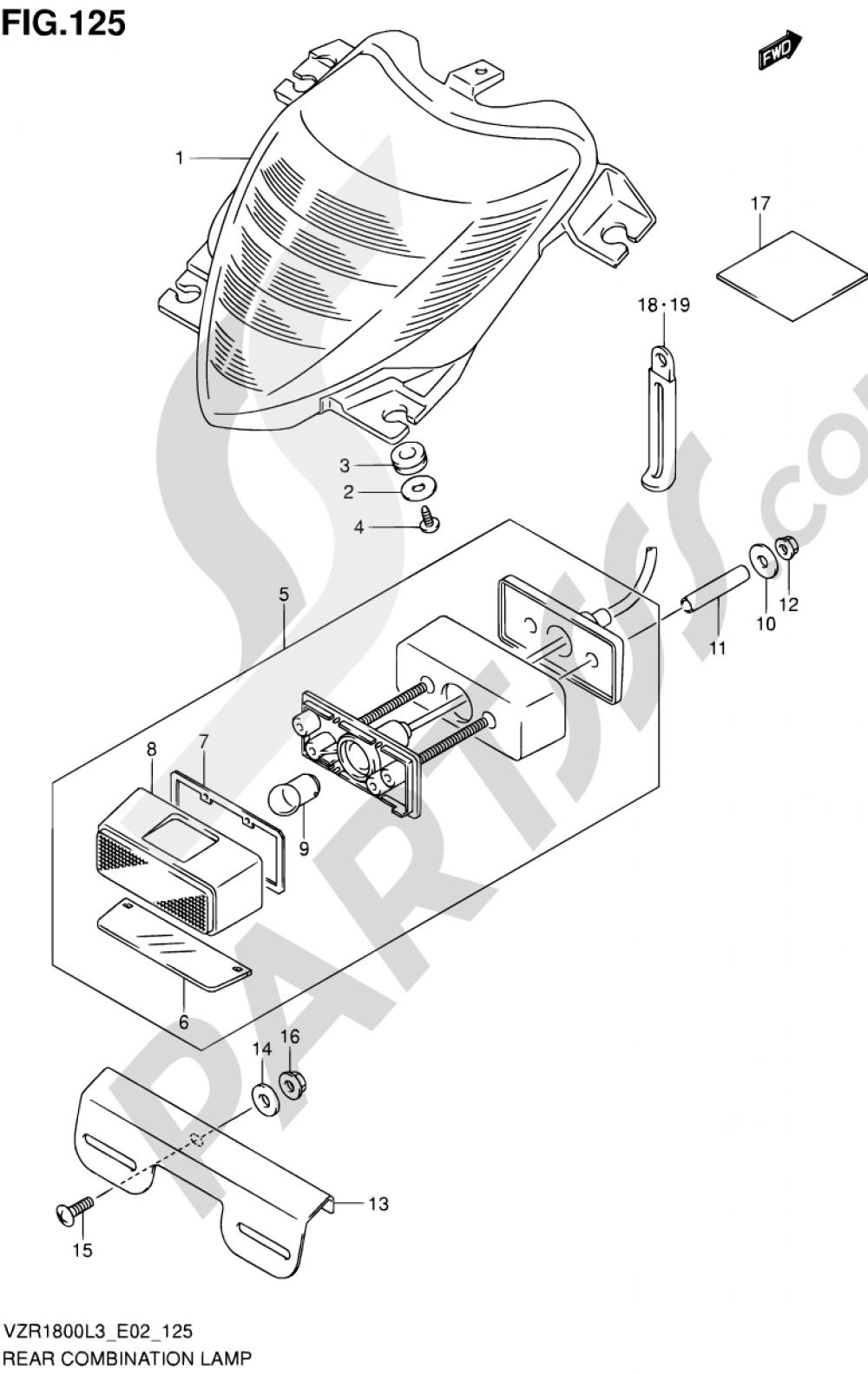 125 - REAR COMBINATION LAMP (VZR1800ZUFL3 E19) Suzuki VZR1800 2013