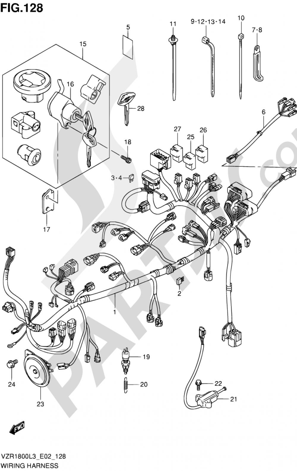 128 - WIRING HARNESS (VZR1800L3 E24) Suzuki VZR1800 2013