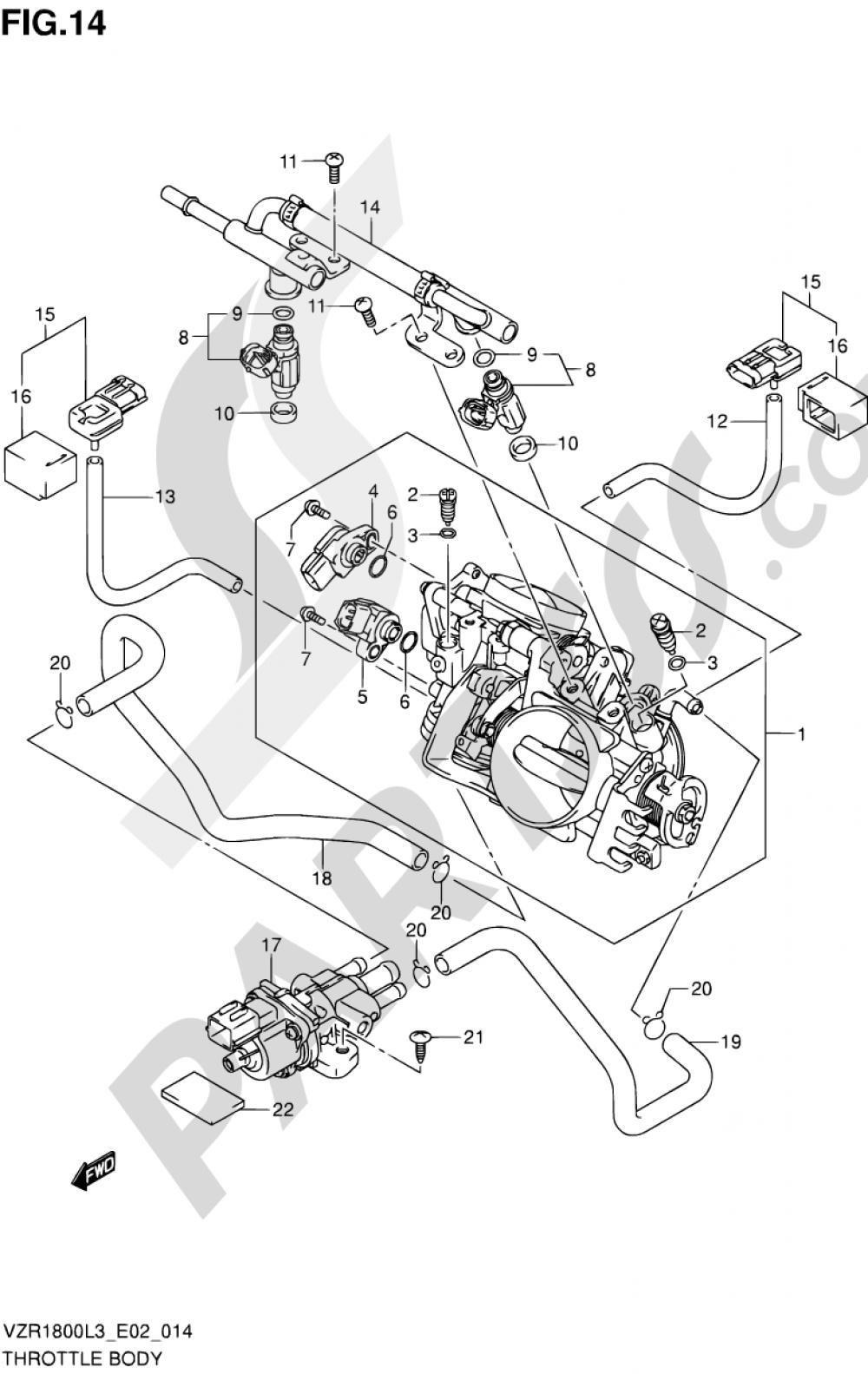 14 - THROTTLE BODY (VZR1800L3 E19) Suzuki VZR1800 2013