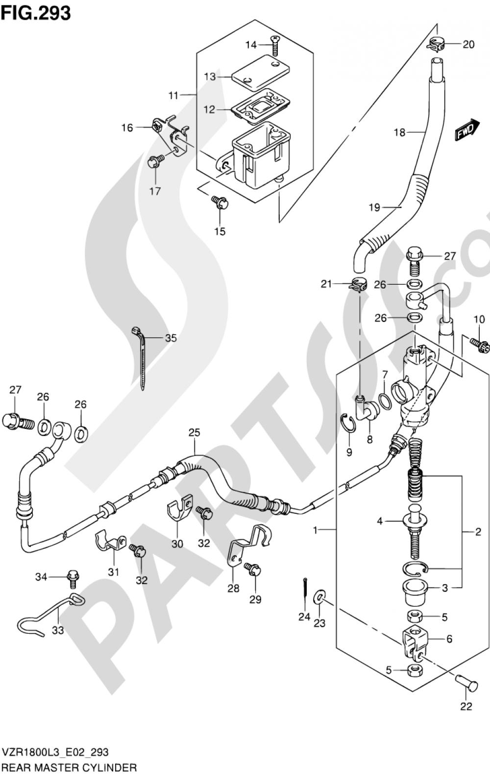 293 - REAR MASTER CYLINDER (VZR1800L3 E19) Suzuki VZR1800 2013