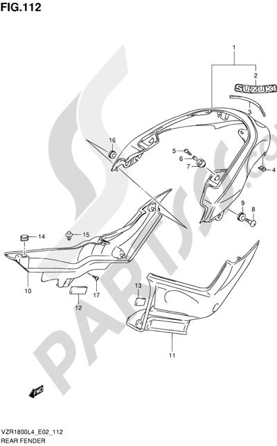 Suzuki VZR1800 2014 112 - REAR FENDER (VZR1800L4 E02)