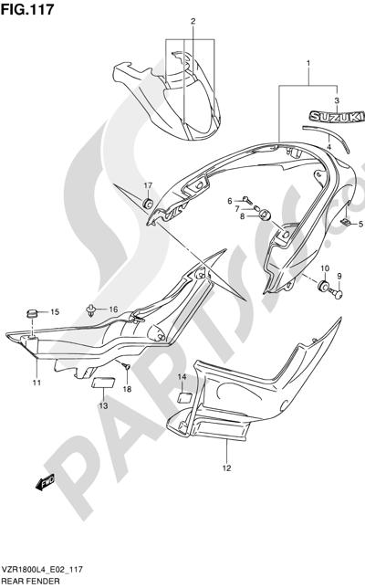 Suzuki VZR1800 2014 117 - REAR FENDER (VZR1800ZUFL4 E19)