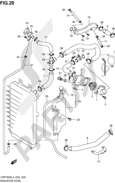 Suzuki VZR1800 2014 20 - RADIATOR HOSE
