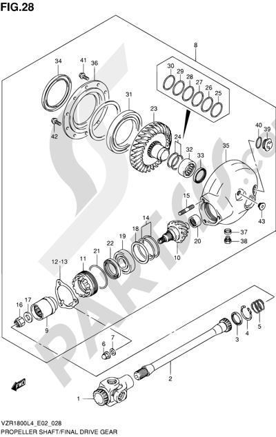 Suzuki VZR1800 2014 28 - PROPELLER SHAFT/FINAL DRIVE GEAR (VZR1800UFL4 E19)
