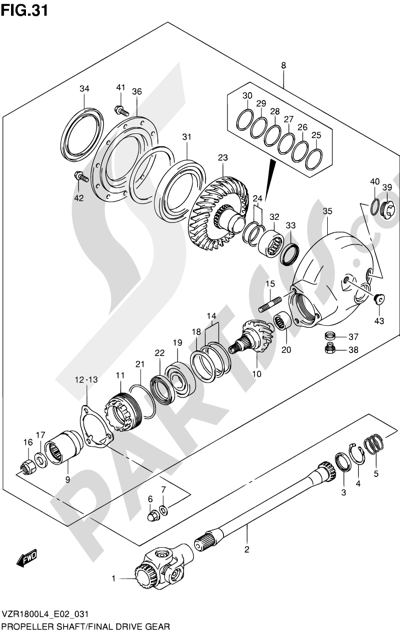 Suzuki VZR1800 2014 31 - PROPELLER SHAFT/FINAL DRIVE GEAR (VZR1800ZUFL4 E19)