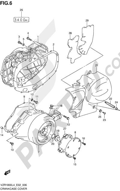 Suzuki VZR1800 2014 6 - CRANKCASE COVER