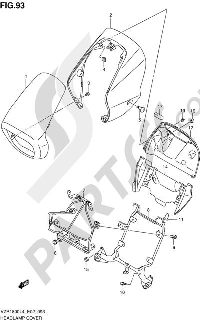 Suzuki VZR1800 2014 93 - HEADLAMP COVER (VZR1800L4 E02)