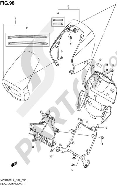 Suzuki VZR1800 2014 98 - HEADLAMP COVER (VZR1800ZUFL4 E19)
