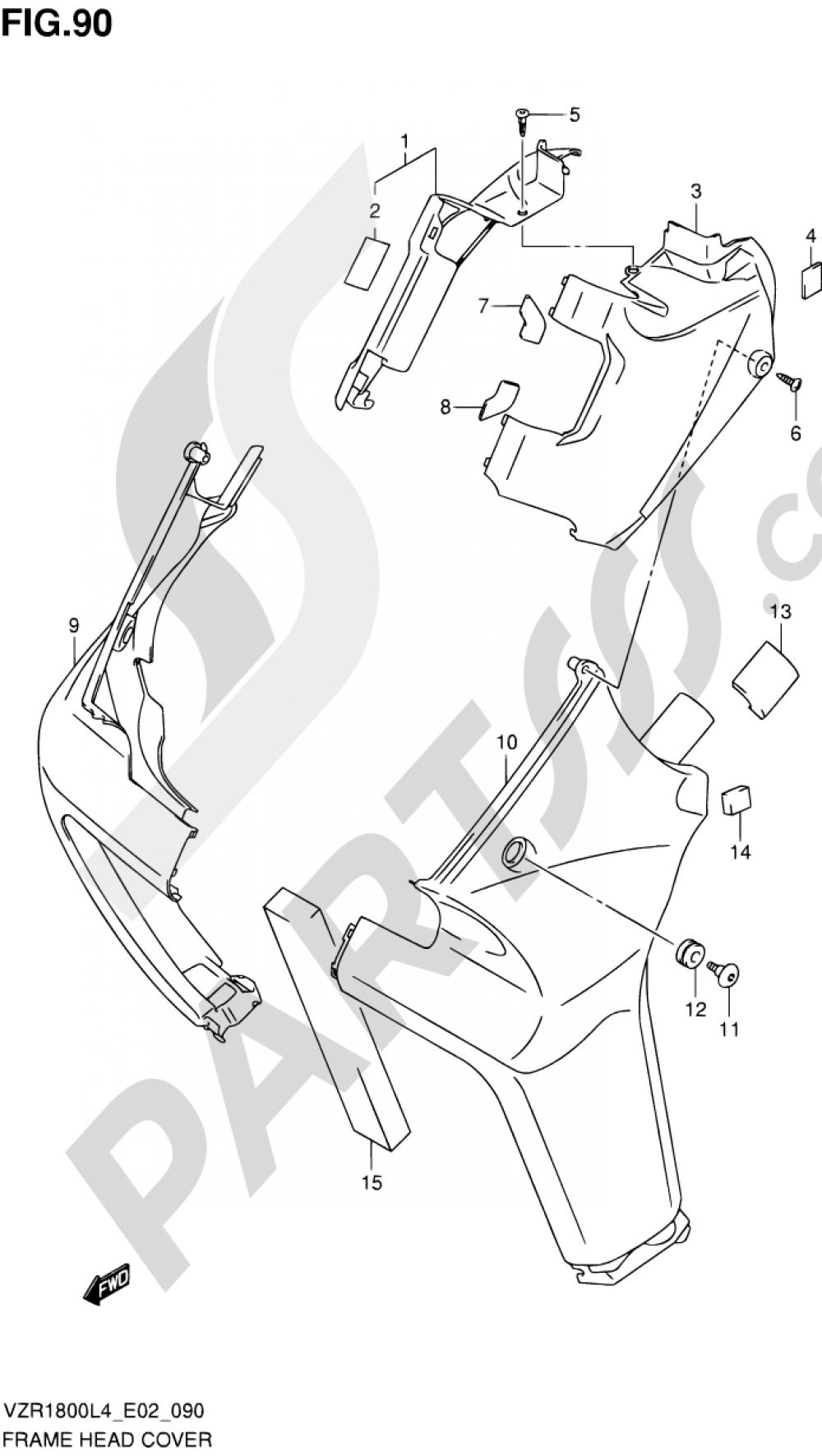 90 - FRAME HEAD COVER (VZR1800ZL4 E19) Suzuki VZR1800 2014