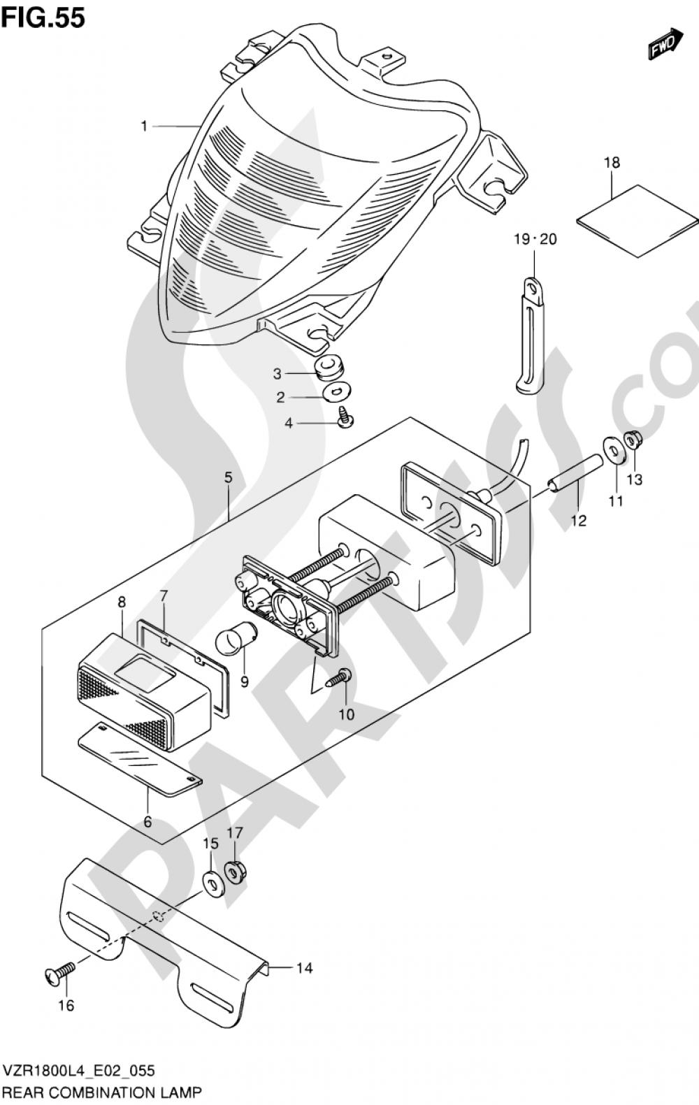 55 - REAR COMBINATION LAMP (VZR1800L4 E19) Suzuki VZR1800 2014