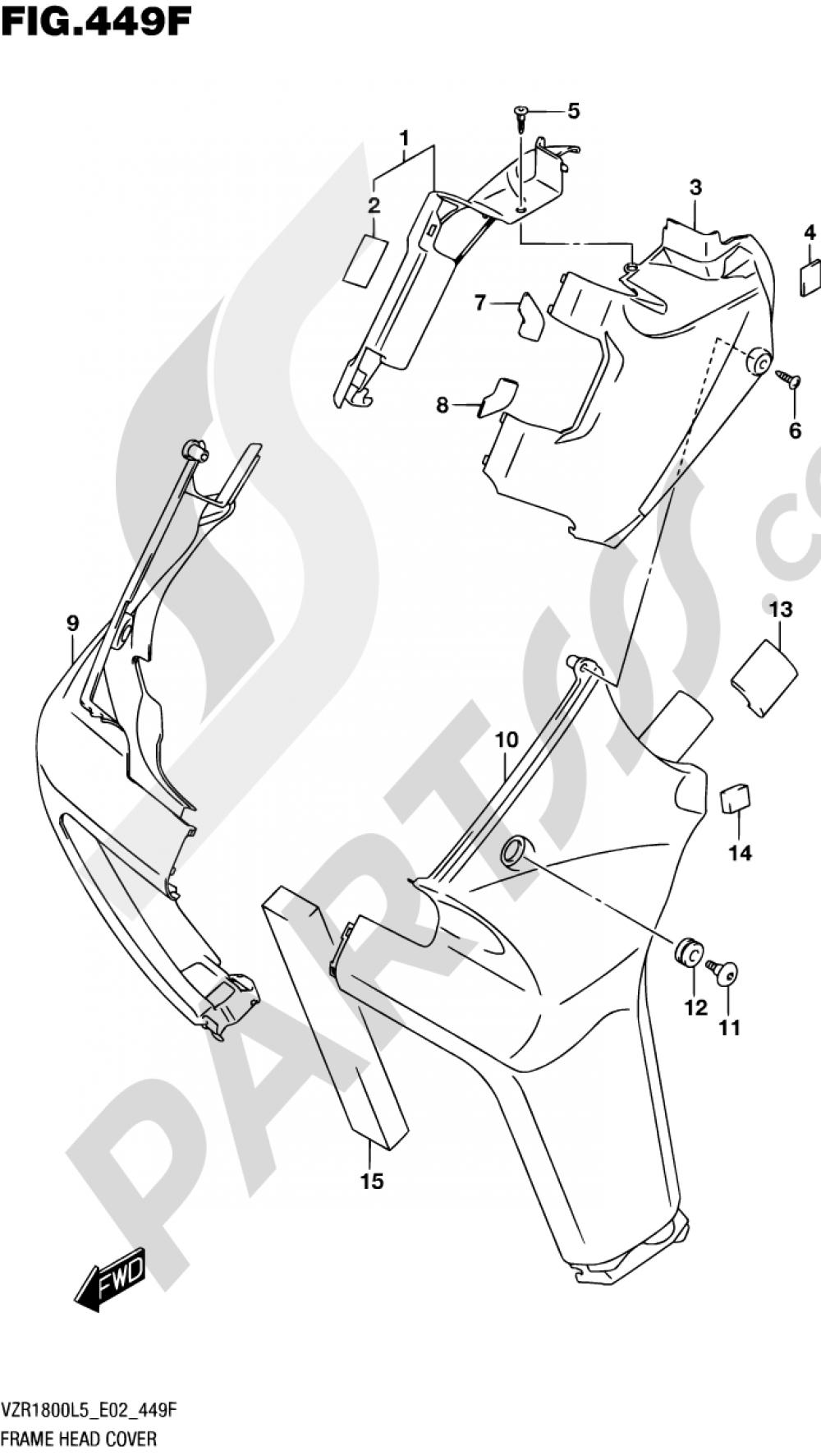 449F - FRAME HEAD COVER (VZR1800BZUFL5 E19) Suzuki VZR1800 2015