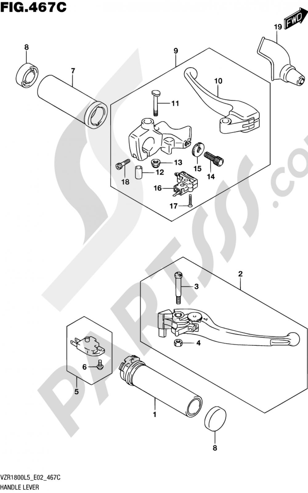 467C - HANDLE LEVER (VZR1800UFL5 E19) Suzuki VZR1800 2015