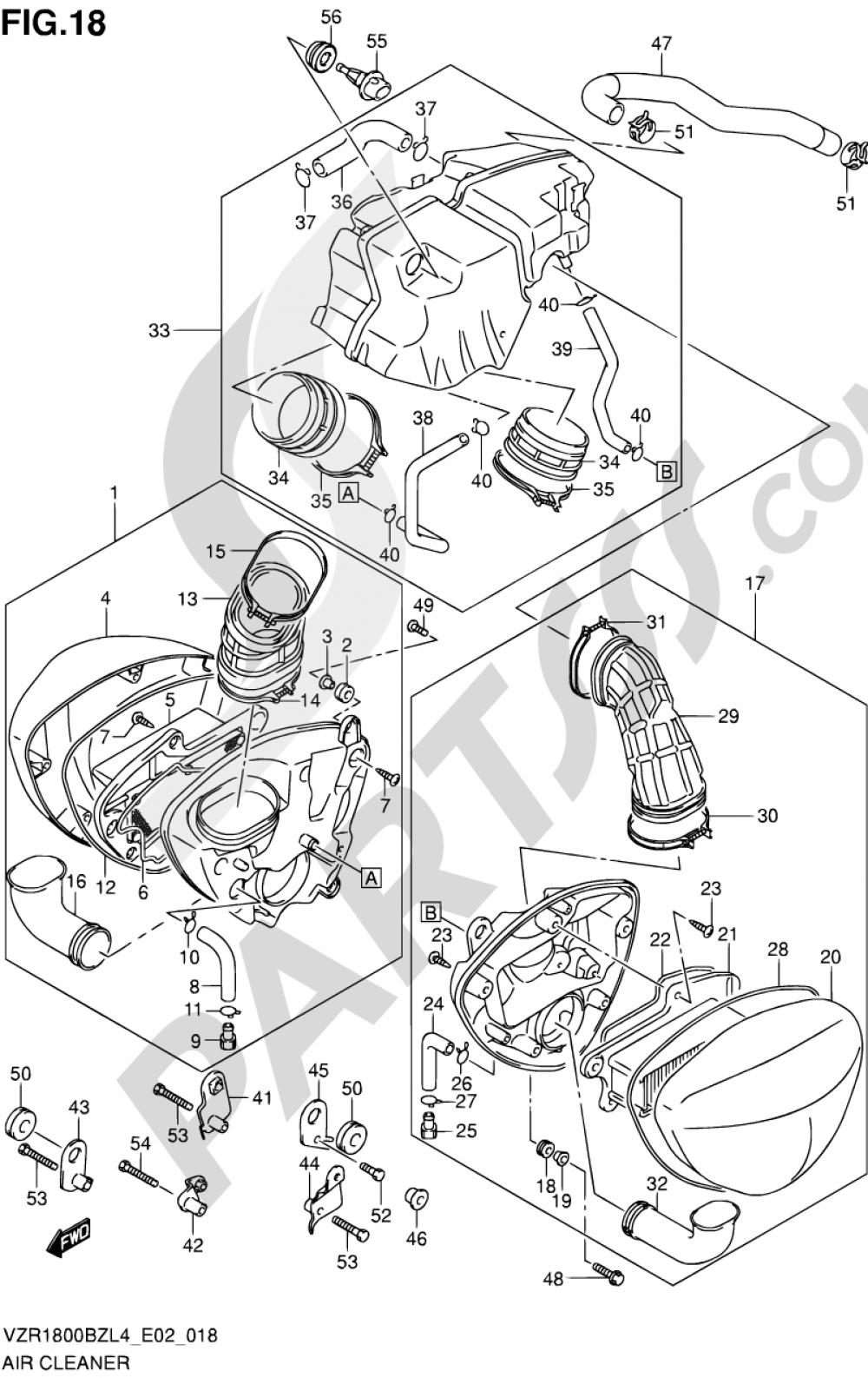 18 - AIR CLEANER (VZR1800BZUFL4 E19) Suzuki VZR1800BZ 2014