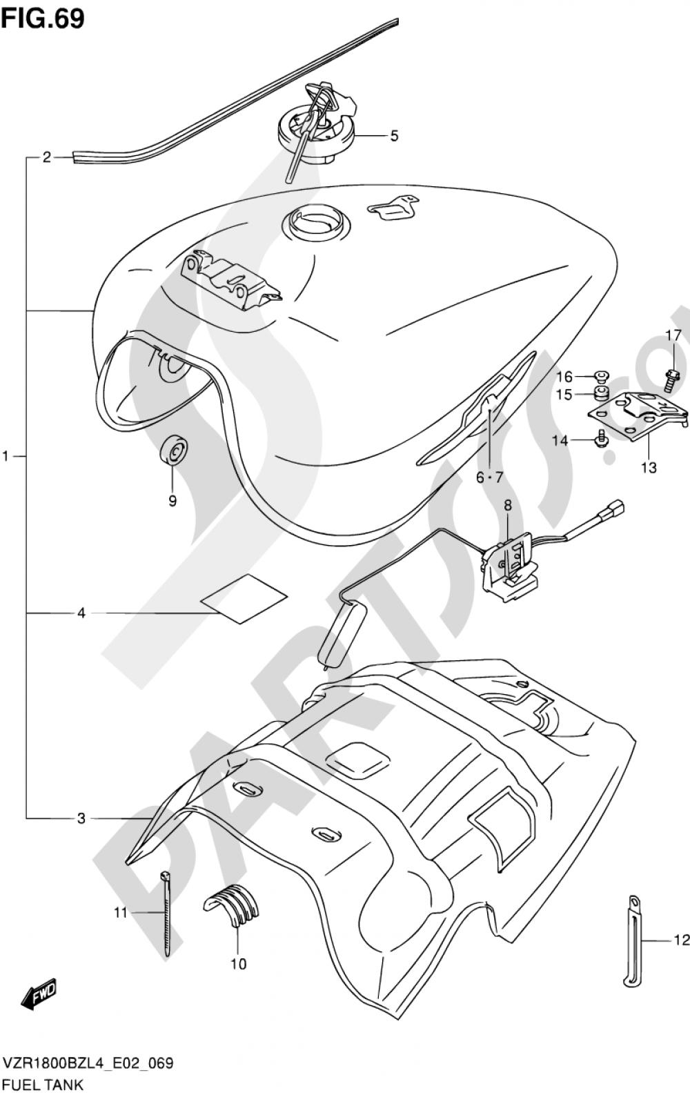 69 - FUEL TANK (VZR1800BZL4 E19) Suzuki VZR1800BZ 2014