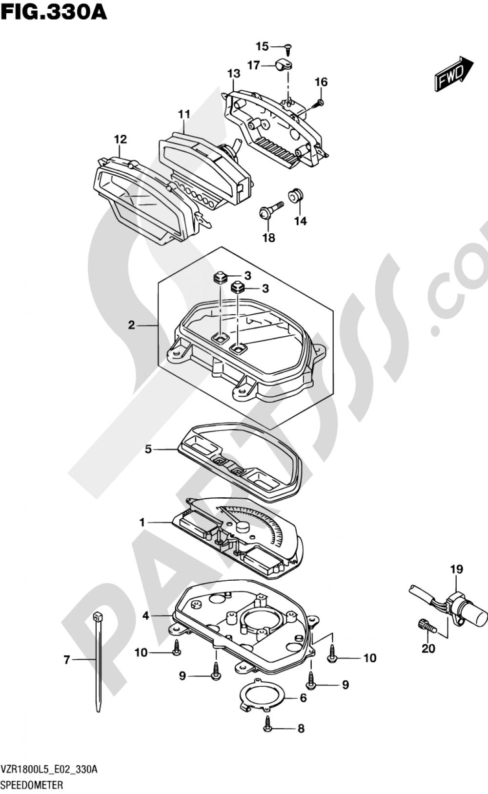 330A - SPEEDOMETER (VZR1800L5 E02) Suzuki VZR1800BZ 2015
