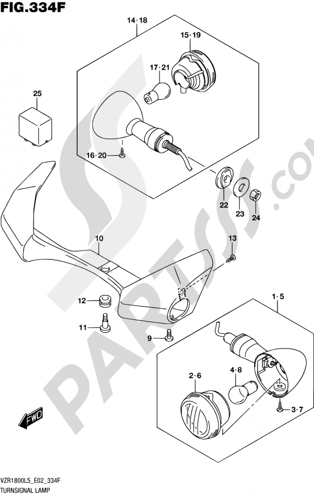334F - TURNSIGNAL LAMP (VZR1800BZUFL5 E19) Suzuki VZR1800BZ 2015