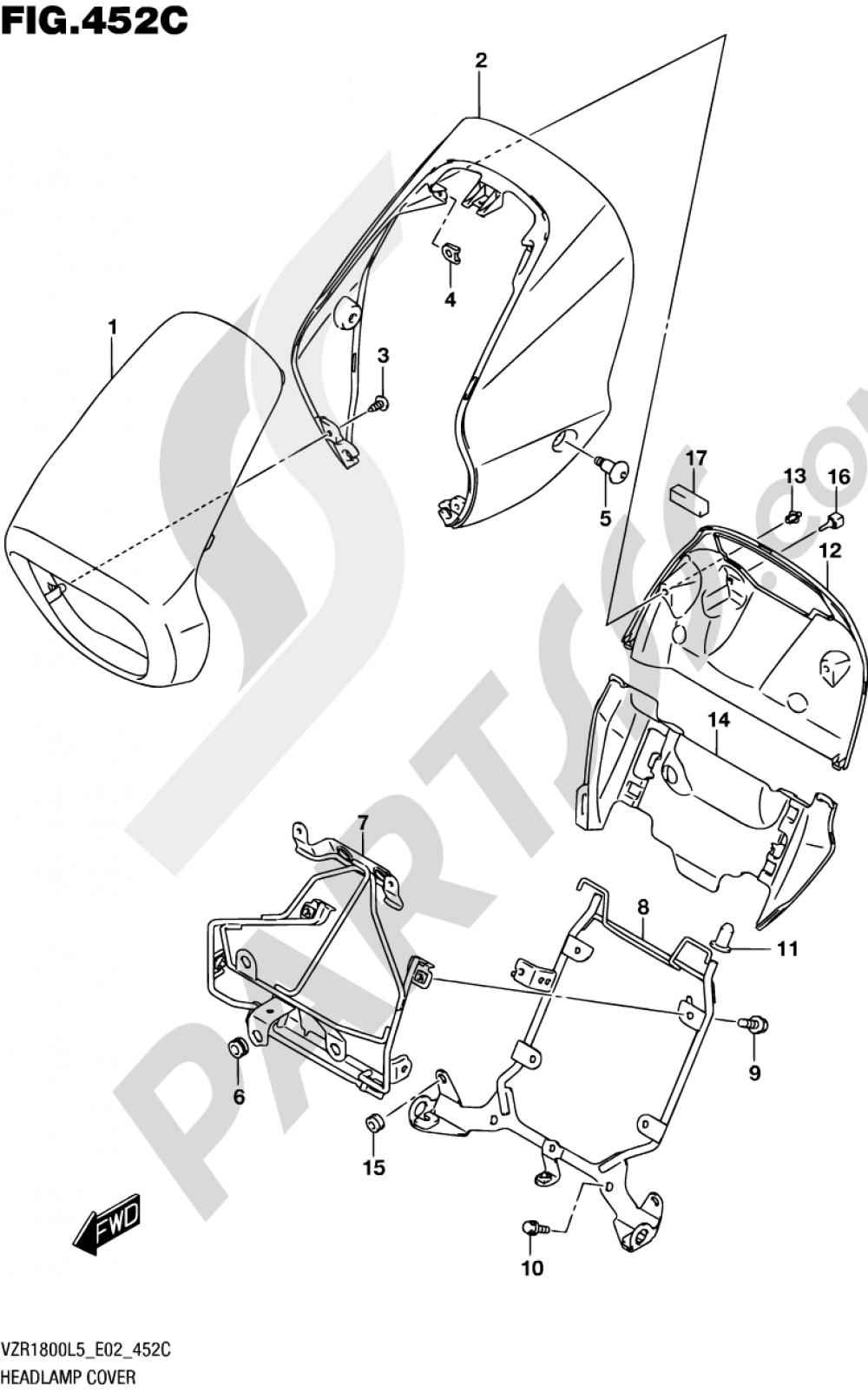 452C - HEADLAMP COVER (VZR1800UFL5 E19) Suzuki VZR1800BZ 2015