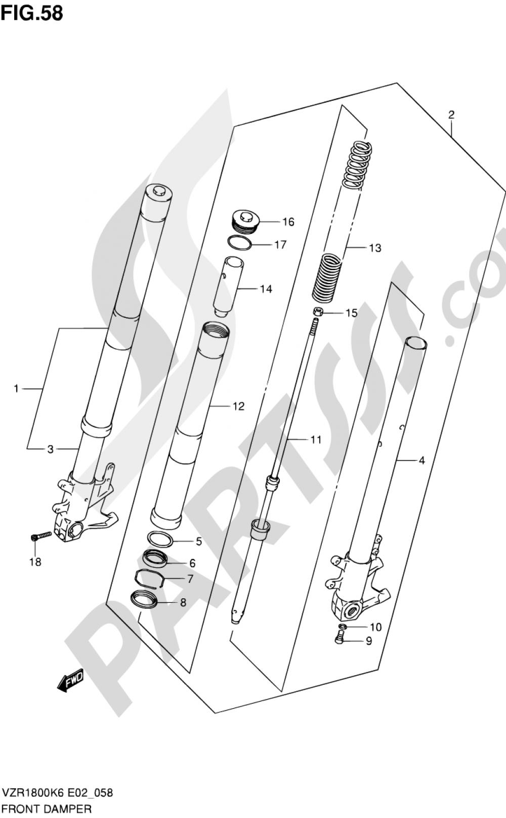 58 - FRONT DAMPER (VZR1800K6/U2K6/K7/U2K7/NK8/NU2K8) Suzuki VZR1800N 2008