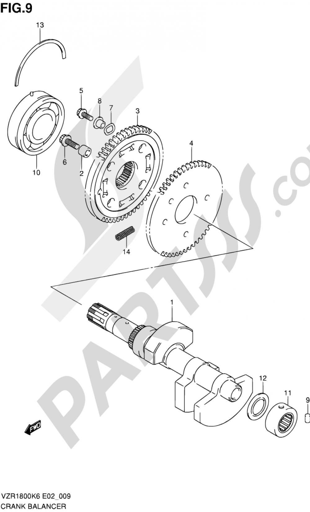 9 - CRANK BALANCER (MODEL K6/K7/K8/K9) Suzuki VZR1800N 2009