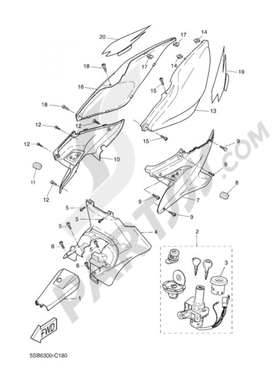 SIDE FAIRING / COWLING Yamaha AEROX R 2004