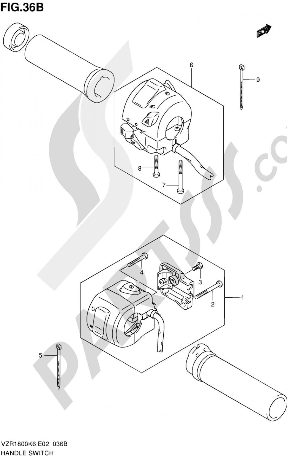 36B - HANDLE SWITCH (VZR1800ZK9/ZUFK9/ZL0/ZUFL0) Suzuki VZR1800Z 2009