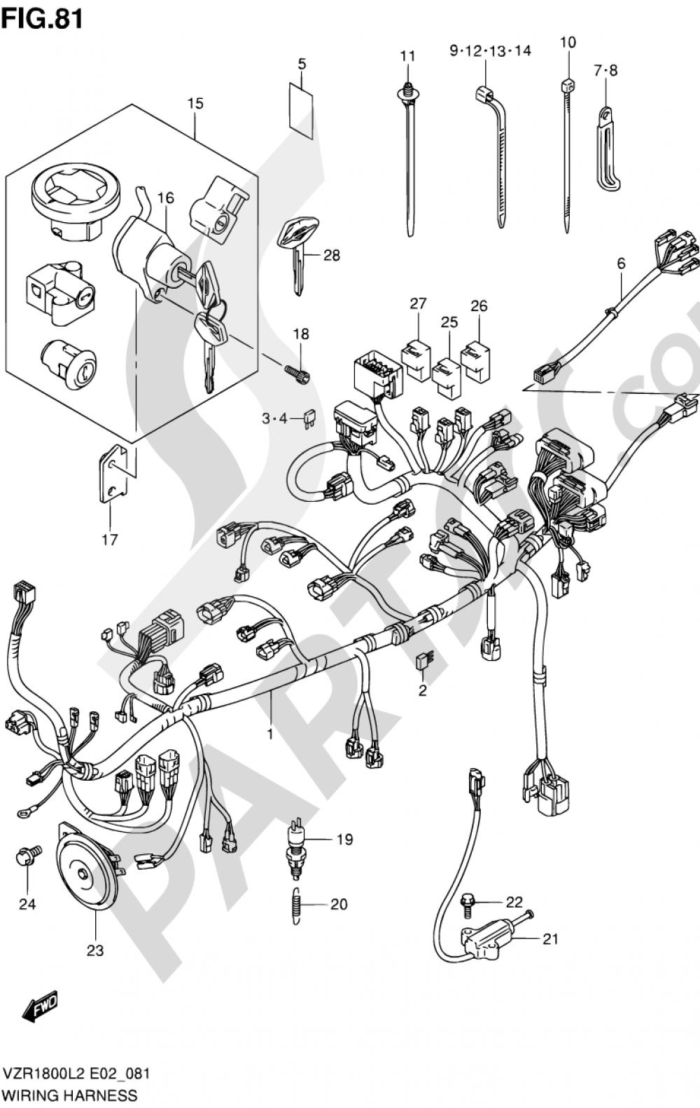 81 - WIRING HARNESS (VZR1800L2 E19) Suzuki VZR1800Z 2002