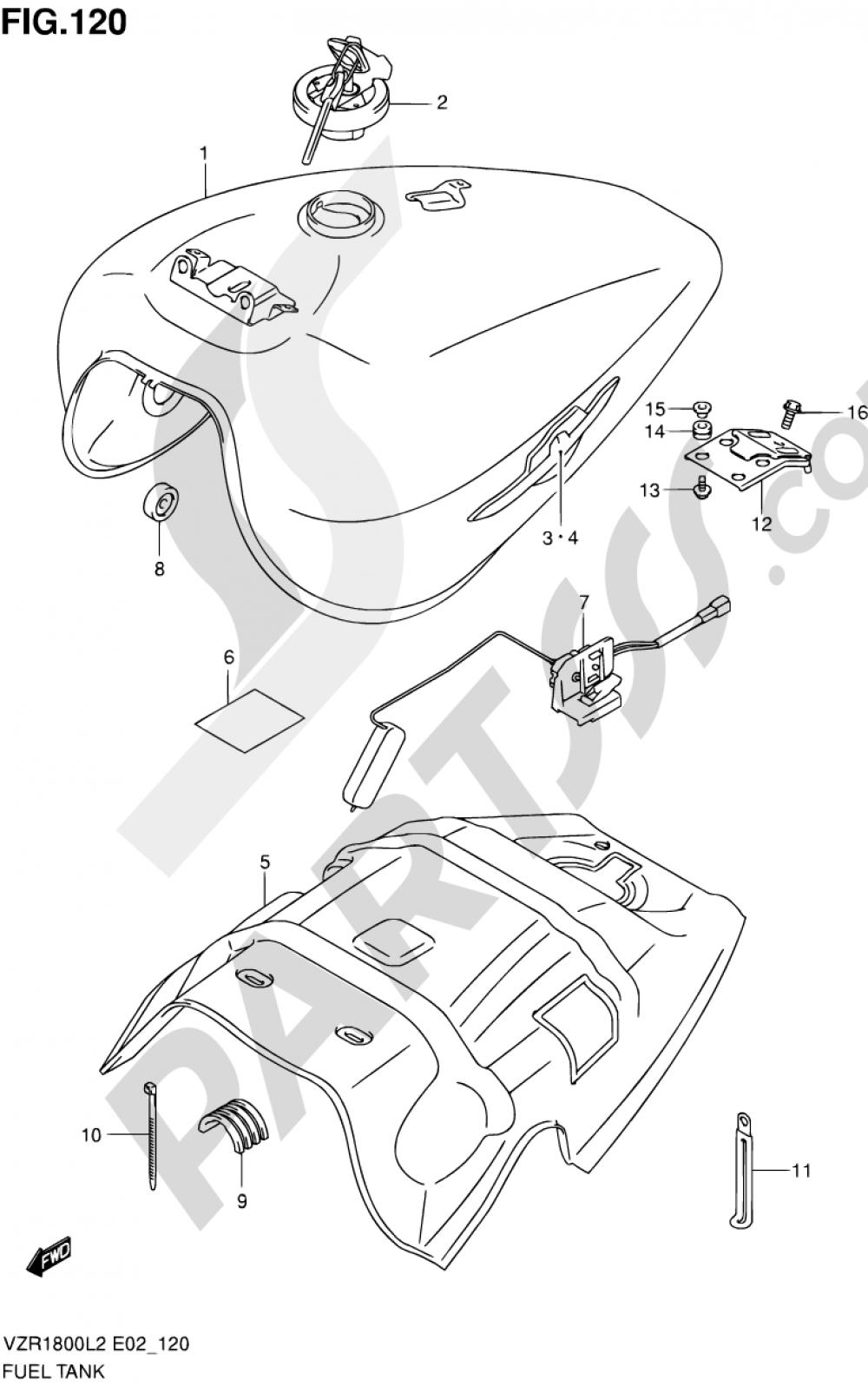 120 - FUEL TANK (VZR1800ZL2 E19) Suzuki VZR1800Z 2002