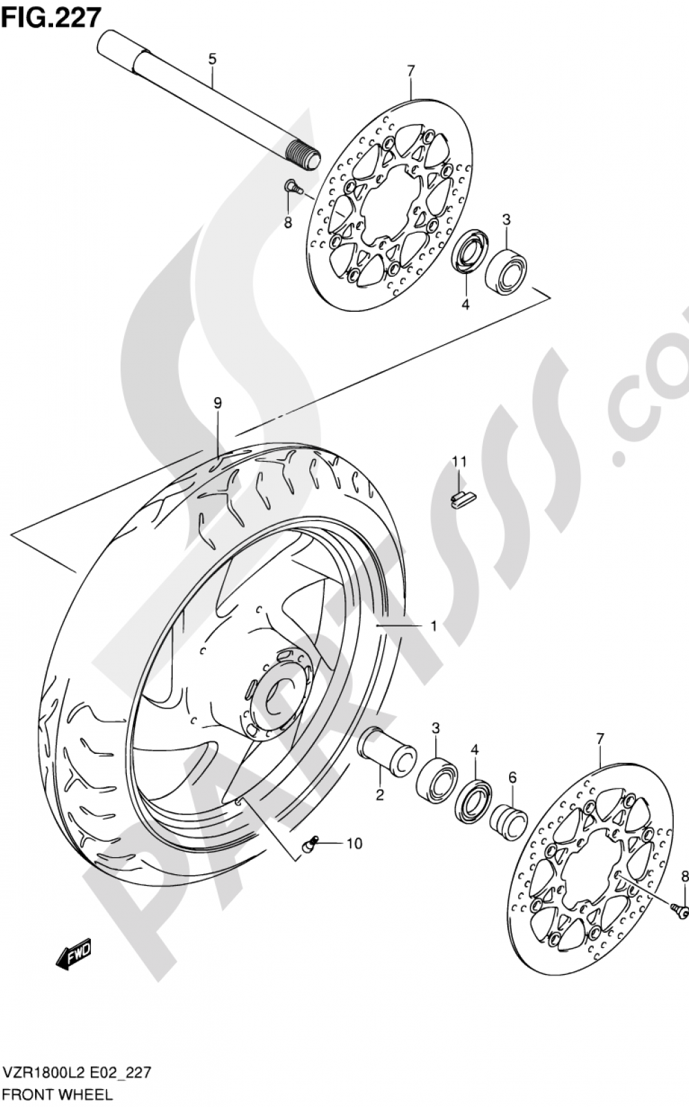 227 - FRONT WHEEL (VZR1800ZL2 E02) Suzuki VZR1800Z 2002