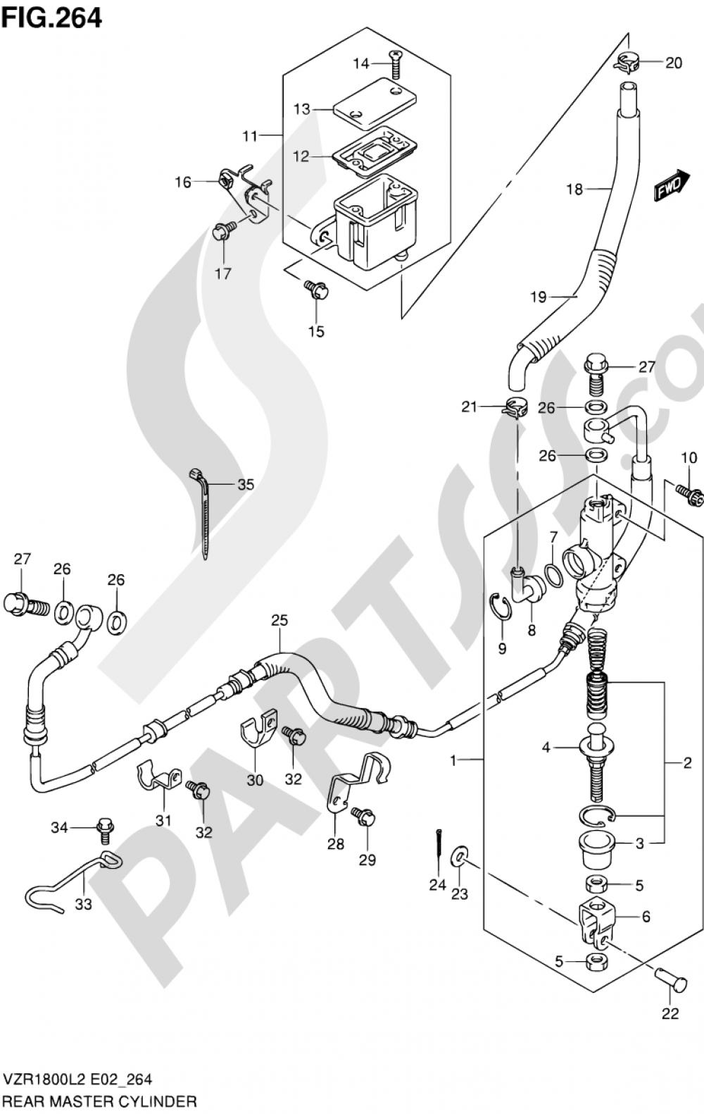 264 - REAR MASTER CYLINDER (VZR1800ZL2 E24) Suzuki VZR1800Z 2002