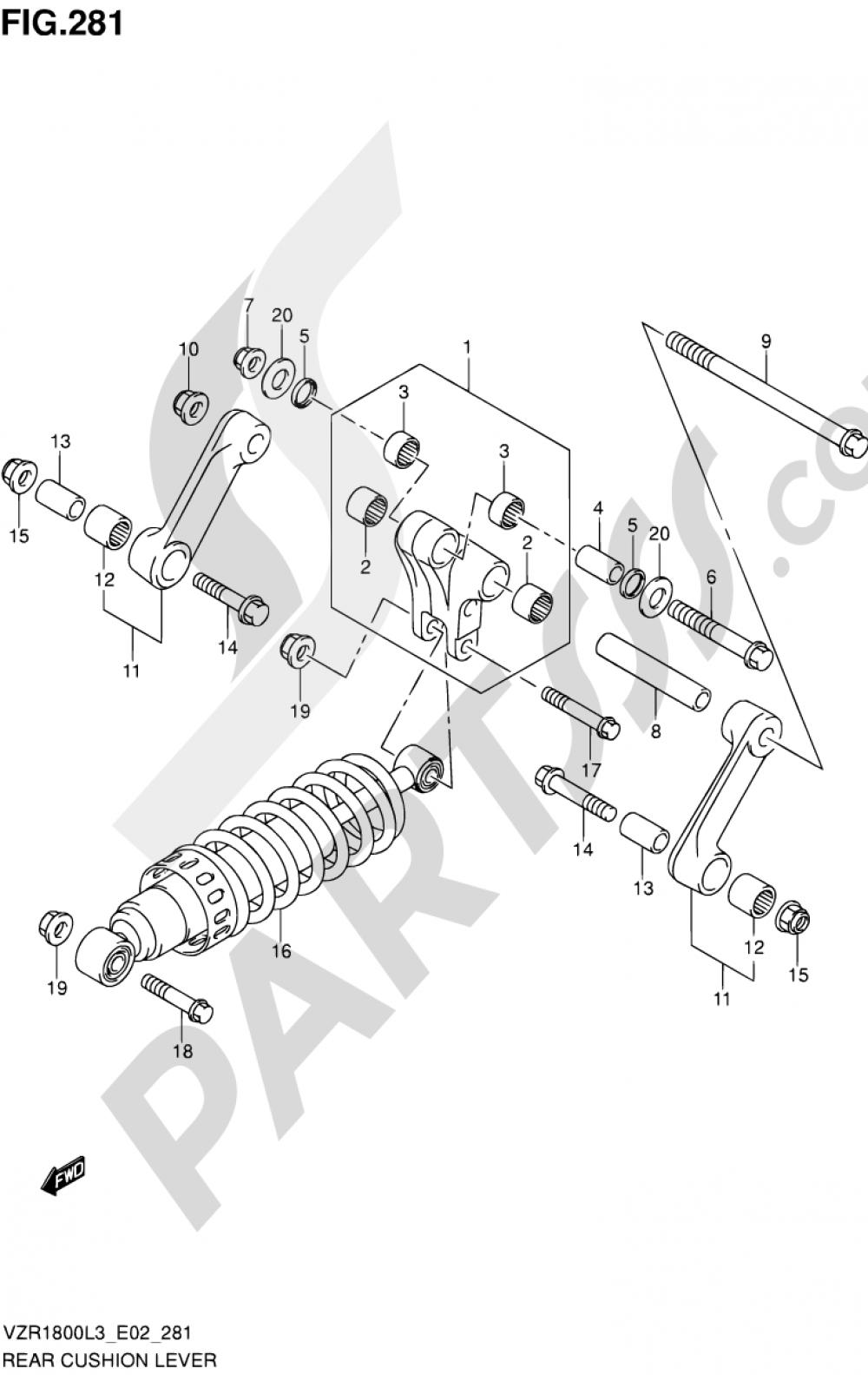 281 - REAR CUSHION LEVER (VZR1800ZL3 E24) Suzuki VZR1800Z 2013