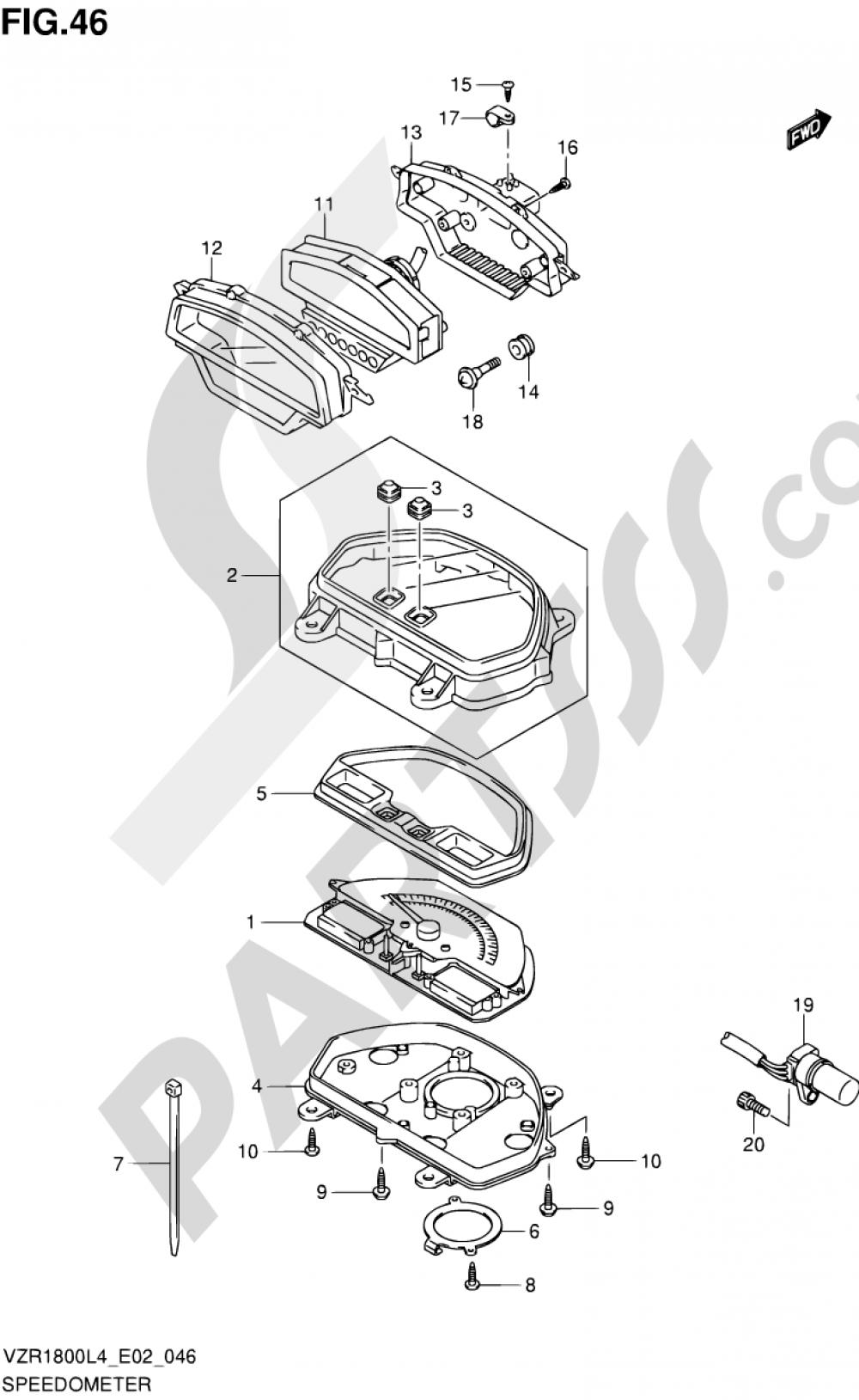 46 - SPEEDOMETER (VZR1800ZUFL4 E19) Suzuki VZR1800Z 2014