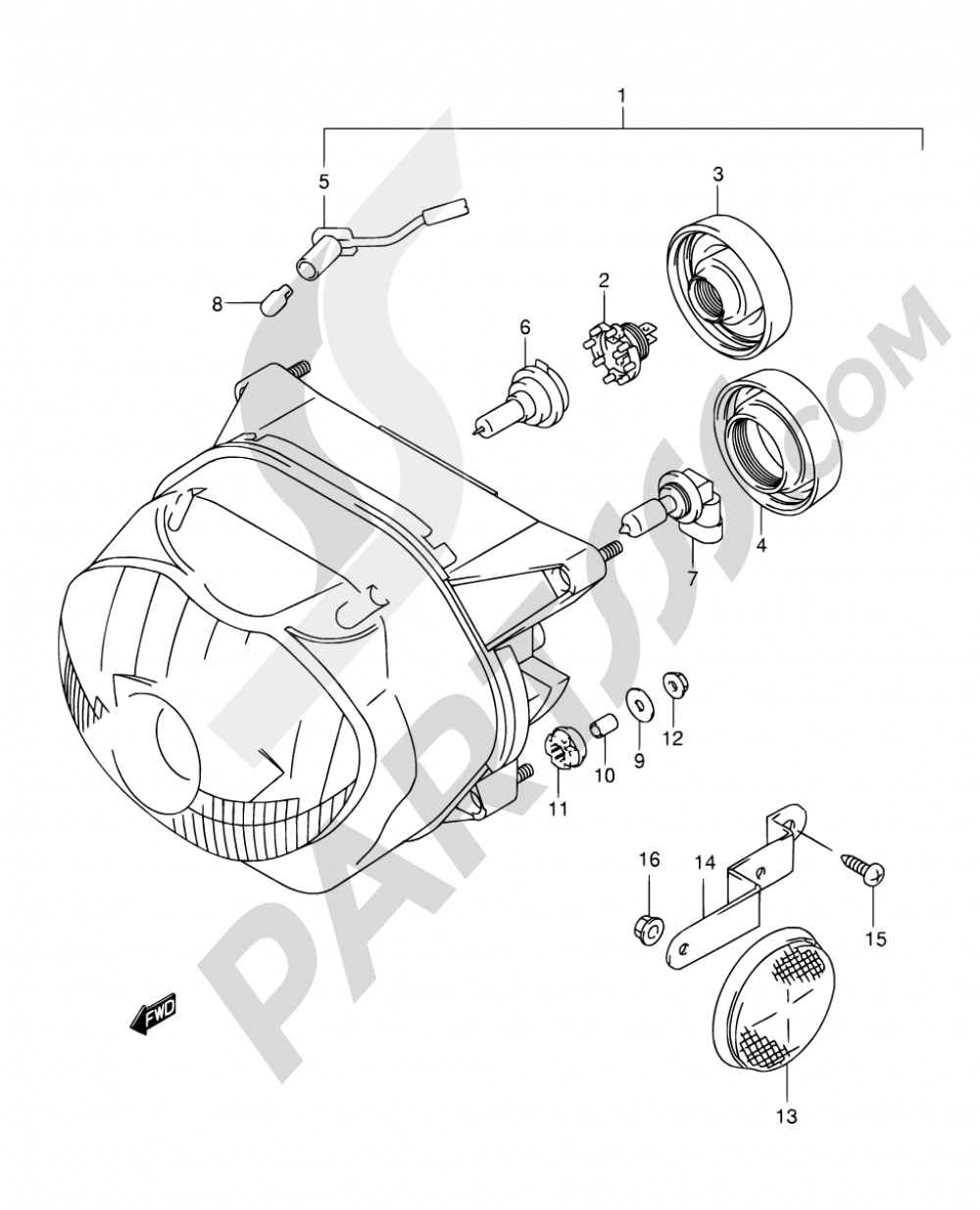 25C - HEADLAMP (MODEL Y/K1 E04,E17,E18,E22,E25,E34,E54,P09,P37) Suzuki FREEWIND XF650 2001